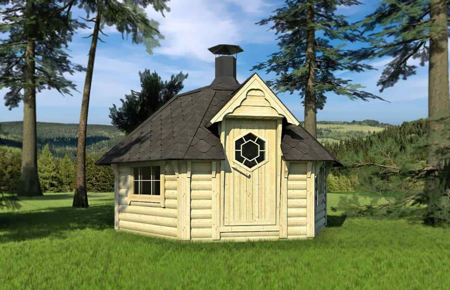 FPL6107 - Medium Straight Wall Lowered Roof BBQ Hut