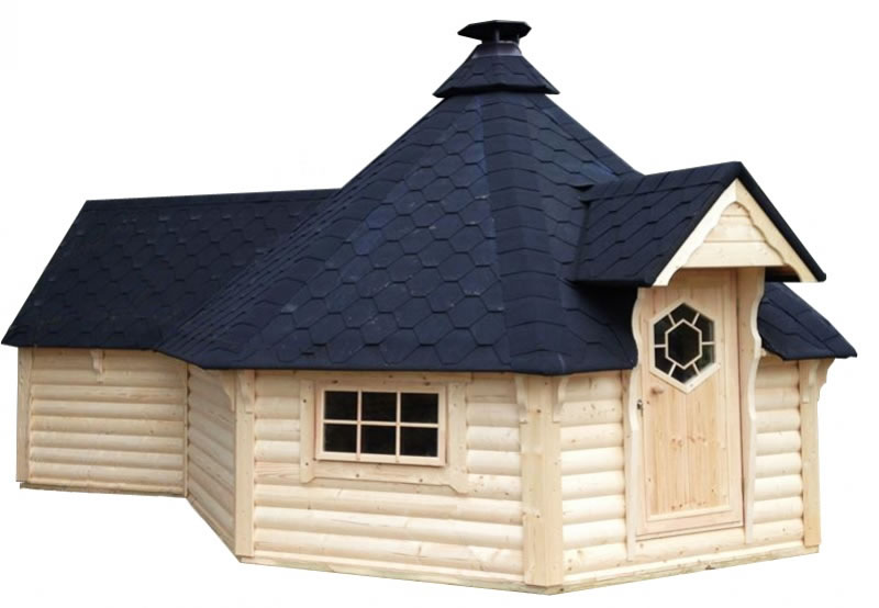 FPL6132 - Extra Large Straight Wall BBQ Hut with extn