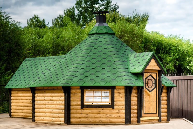 FPL6133 - Extra Large Straight Wall BBQ Hut with sauna