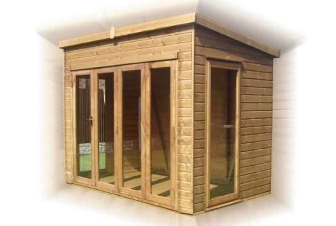 FPL8078 - Pent Summerhouse with Folding Doors