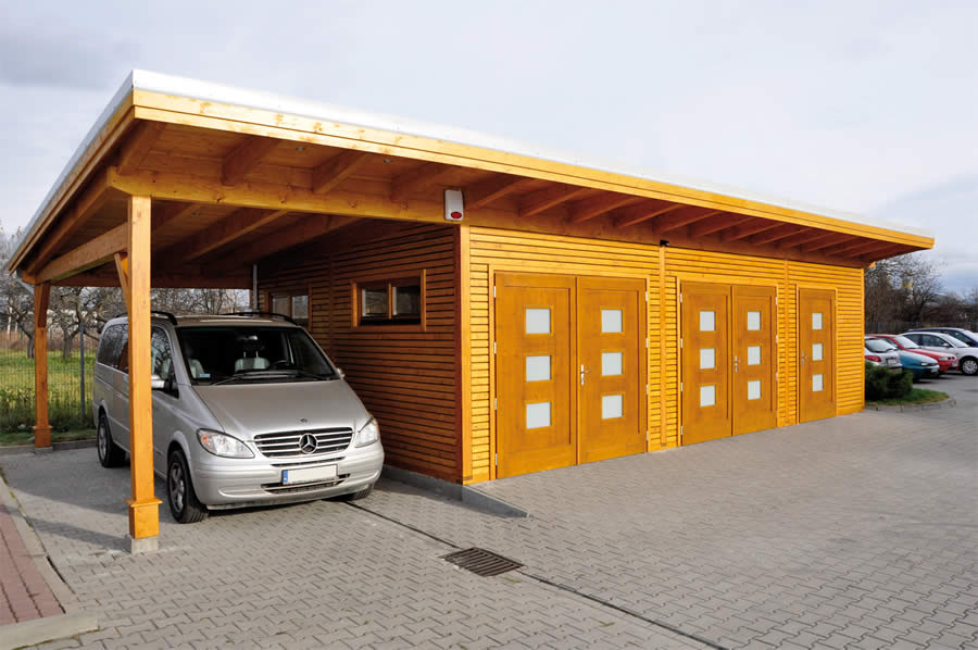 Garage 560x920 With Side Carport By Forest Log Cabins And