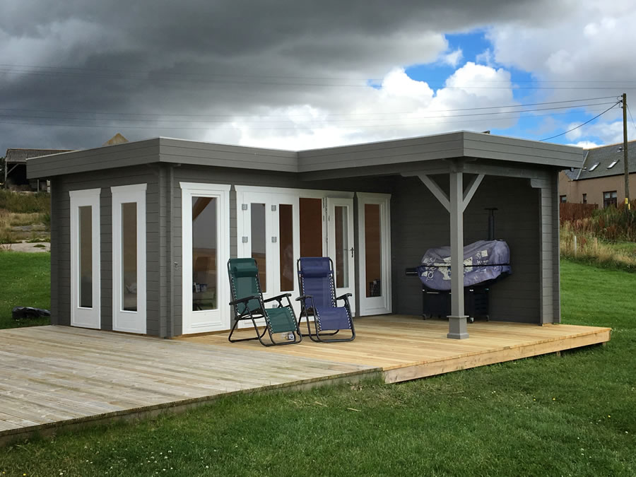 FPL9550 - Flat Roof Log Cabin 500x300 with 3m canopy