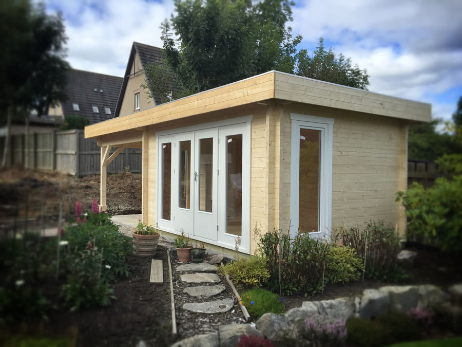FPL9555 - Flat Roof Log Cabin 300x400 with 3m canopy